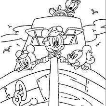 Donald e Mickey em um barquinho