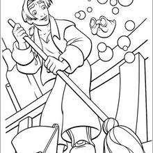 Colorindo Jim limpando o navio Hispaniola