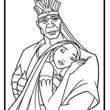 Desenho da Pocahontas com o seu pai para colorir