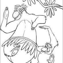 O engraçado Balu dançando na selva, para colorir