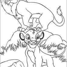 Mufasa com o seu filhote Simba