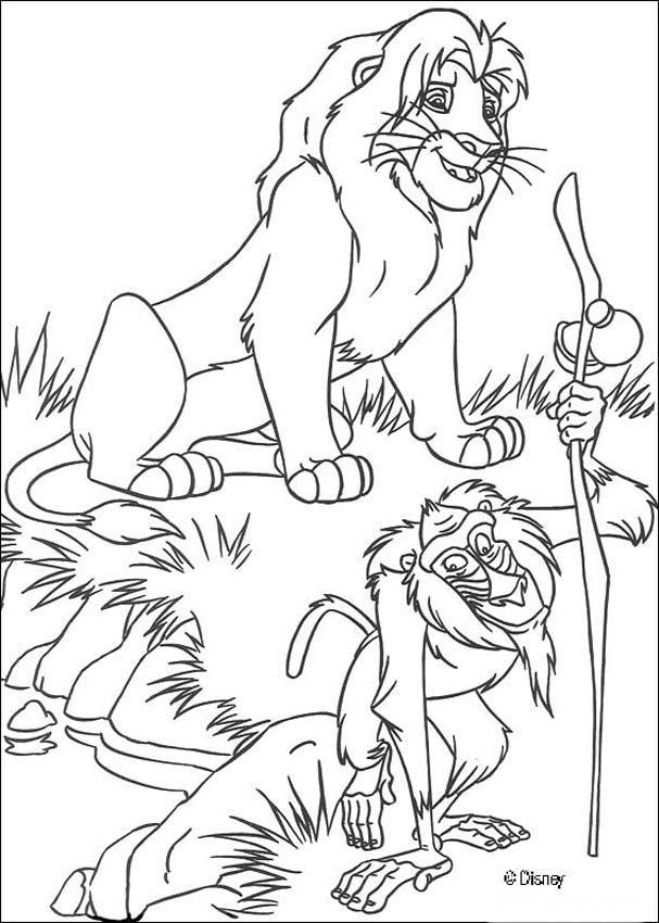 Desenhos para colorir de simba com o rafiki - Coloriage roi lion 2 ...