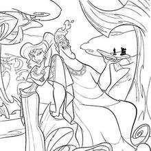 Desenho do Zeus com a Hera para colorir