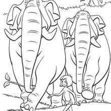 Mogli e os elefantes para colorir