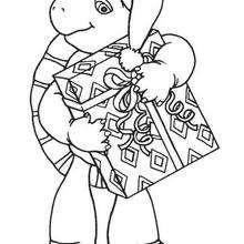 Desenho do Franklin com seu presente de Natal para colorir