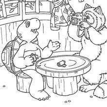 Desenho do Franklin com seu amigo Raposa para colorir