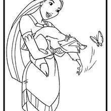 Desenho da Pocahontas brincando com o Meeko para colorir
