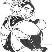 Fa Mulan com o  Mushu, o guardião da família Fa