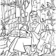 A princesa Aurora com os animais da floresta