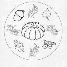 Desenho de um Mandala de outono para colorir