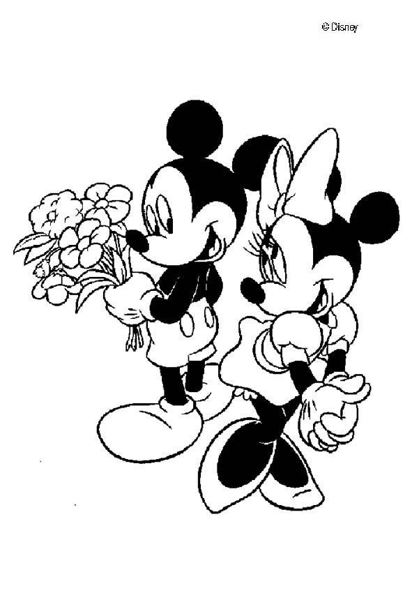 Desenhos Para Colorir De Mickey E Minnie Apaixonados Pt