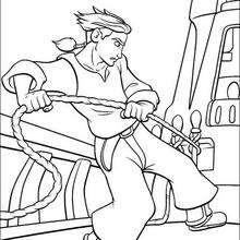 Jim Hawkins amarrando o navio, para colorir