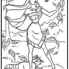 Desenho da Pocahontas  para colorir