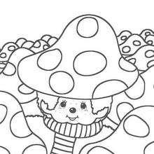 macaco, Monchhichi entre os cogumelos para colorir