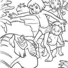 Colorindo Mogli e a menina enfrentando o tigre