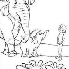 Balu com a família elefante, para colorir
