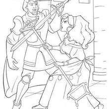 Desenho da Esmeralda com o Capitão Febo para colorir