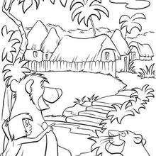 Baguera, Mogli e o urso Balu olhando o vilarejo, para colorir