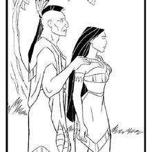 Desenho da Pocahontas com o seu pai, Powatan para colorir
