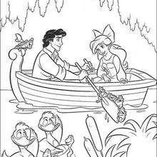 Ariel e o Príncipe Eric no barco