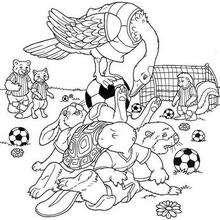 Desenho de um jogo de futebol para colorir