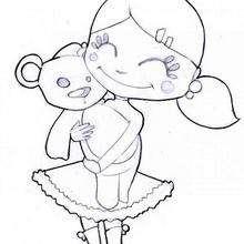 Desenho de uma menina feliz com seu ursinho para colorir