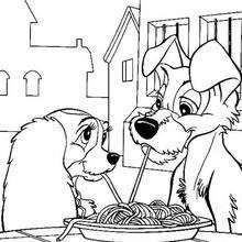 A Dama e o Vagabundo comendo espaguete