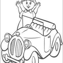 Uma menina à espera do taxi, para colorir
