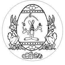 Desenho de um Mandala com coelho da páscoa para colorir