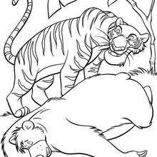 Shere Khan o tigre preparando o ataque, para colorir