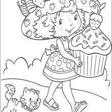 Moranguinho com um bolo gigante