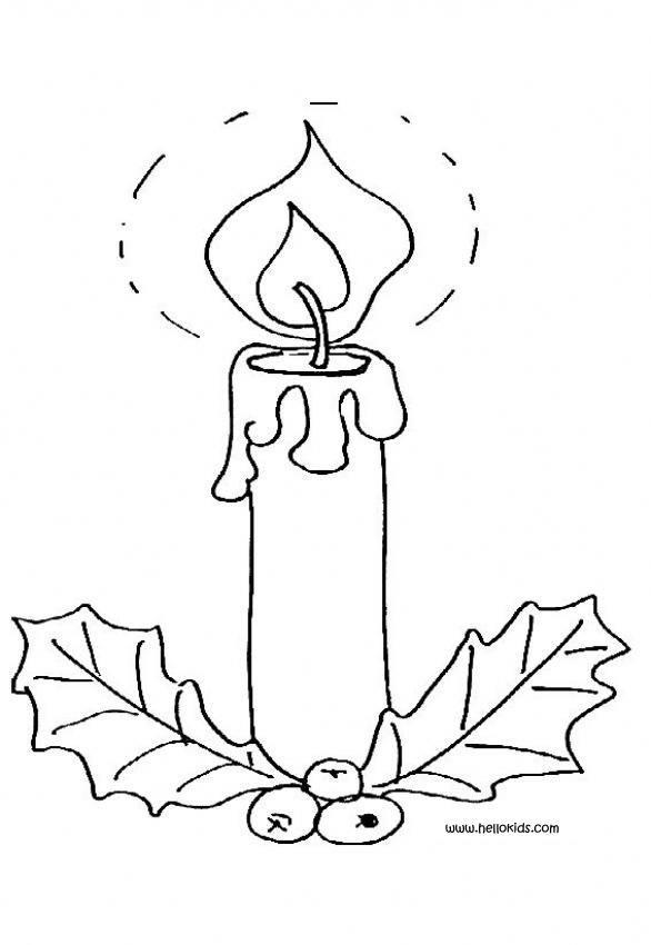 Desenho de uma Vela de Natal para colorir