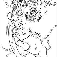 Mickey, pato Donald, Pateta e o Rinoceronte