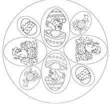 Desenho de um Mandala com pintinhos da Páscoa para colorir