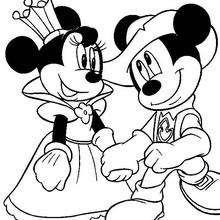 A Rainha Minnie com o cavaleiro Mickey
