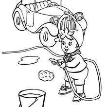 Colorindo Noddy lavando seu carro