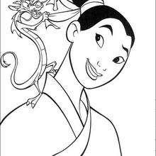 Mulan com o seu guardião, o dragão Mushu