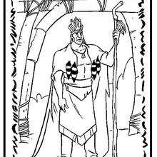 Desenho do Powatan, chefe dos guerreiros da tribo para colorir