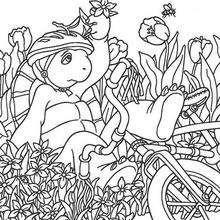 Desenho do Franklin andando de bicicleta para colorir