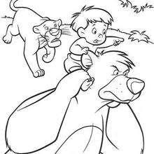 O urso Balu e a pantera Baguera com o menino, para colorir