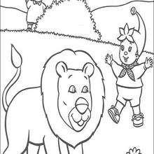 Noddy e o leão para colorir