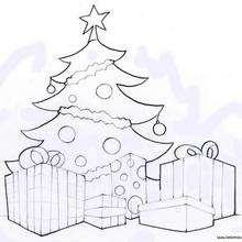Desenho de uma Árvore de Natal com presentes para colorir