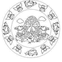 Desenho de um Mandala da páscoa para colorir