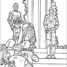 Comemorando a vitória: Luke, R2-D2 e C-3PO
