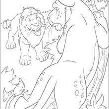 Samson conversando com o leãozinho, para colorir