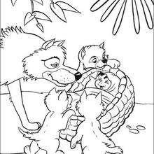 A família de lobos encontra Mogli, para colorir