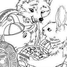 Desenho do Franklin com a Raposa e um coelho para colorir