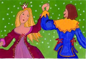 Príncipe e princesa dançando