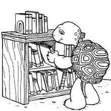 Desenho da Harriet com seus livros para colorir