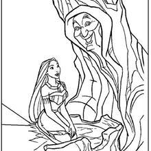 Desenho da Pocahontas com a Vovó Willow para colorir